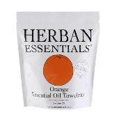 Herban Essentials 20 Individuall Wrapped Orange Towelettes