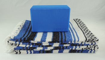 Set includes two traditional yoga blankets and one 4in foam yoga blocks
