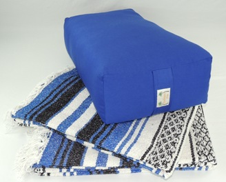 Set includes one rectangular yoga bolster and two traditional yoga blankets.