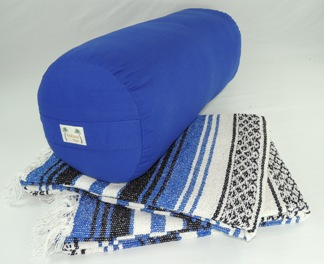 Set includes one round yoga bolster and two traditional yoga blankets.